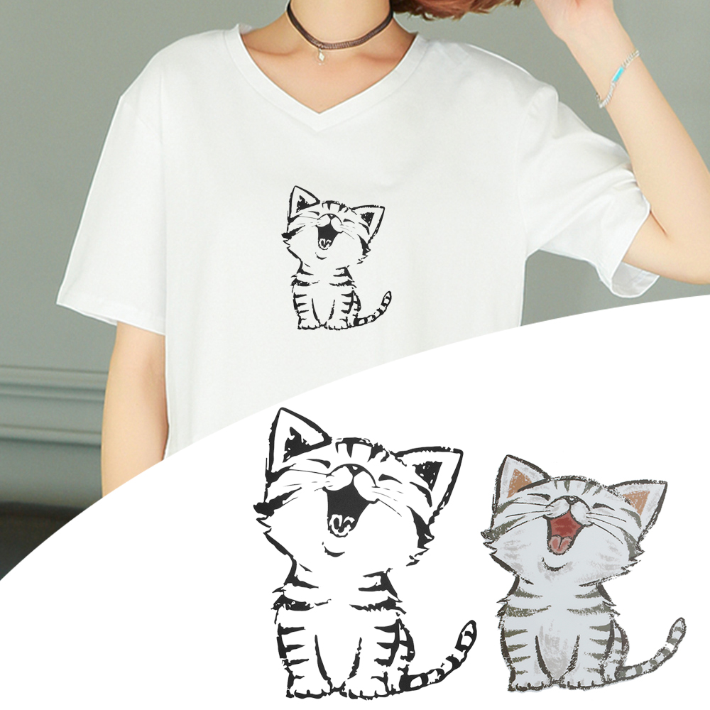 1PC Cute Cat Kitty Cartoon Iron On Patch T-shirt Dresses Decoration 4 Sizes Heat Transfer Stickers Print On Clothes Bags