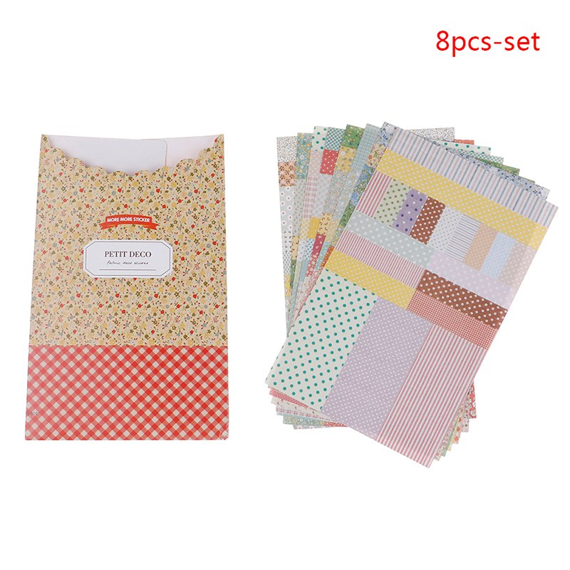 Office & School Supplies Reliable Peerless New 8 Pcs/pack Kawaii Paper Pastoral Floral Striped Plaid Diary Diy Album Scrapbook Decoration Stickers