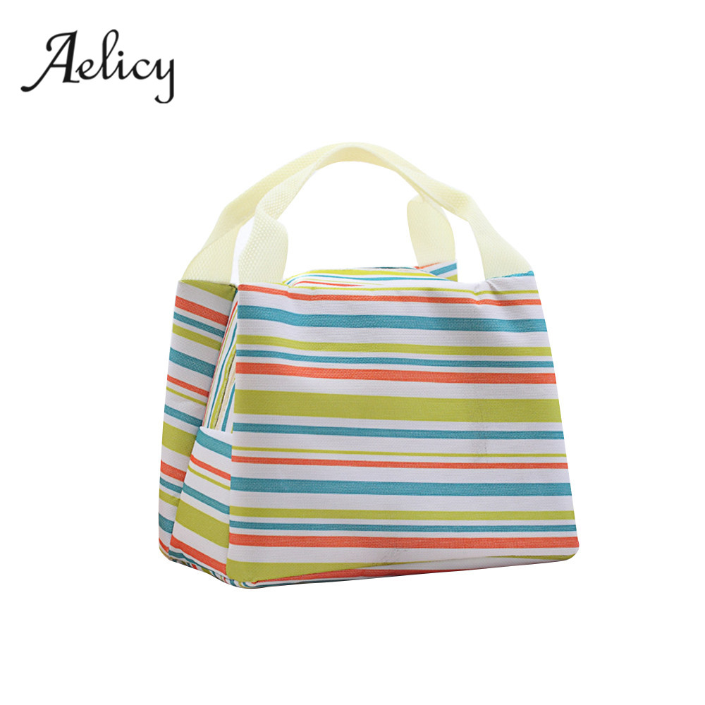 Aelicy Women Kids Men Cooler Lunch Box Bag Horizontal Striped Canvas Lunch Bag for Women Portable Thermal Food Picnic Lunch Bags
