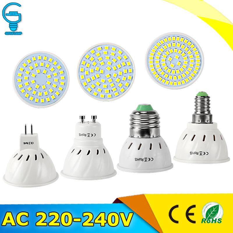 10Pcs LED Lamp E27 E14 MR16 GU10 LED Spotlight AC220V 240V Bombillas Lampada LED Bulb 48 60 80 LED 2835SMD Cold/Warm White