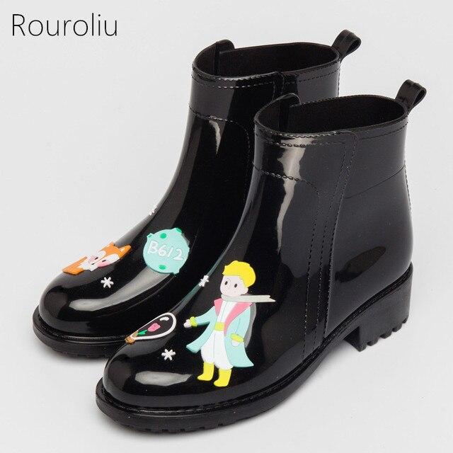 Rouroliu Kadın Ayak Bileği PVC yağmur çizmeleri Düz Topuklu kaymaz Sevimli Karikatür Yağmur Çizmeleri Su Geçirmez su ayakkabısı Kadın Wellies TS103