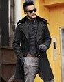 Casaco de pele dos homens casaco de lã seções longas de lã grossa casacos Mens Jaqueta Moda Casual masculino palto Borda Inferior Destacável