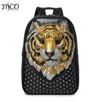 3D Emboss Tiger Head Studded Rivet Gother Men Backpack Women Leather Soft Travel punk rock Backpack Laptop School Halloween Bag