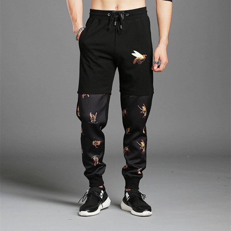 Brand Men Pants 2019 Spring Autumn Male Trousers Casual Printed Bee Mens Joggers Pencil Pants Sweatpants