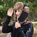 Mens Ocasionales calientes Orejeras de Invierno Ruso Ushanka Bombardero Sombrero Sombrero Caliente Del color sólido Hombre Capo Casquillo Casquillos Para Los Hombres