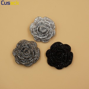 10 pieces 4.5 cm Rose Rhinestones Buttons Silver Black Plastic Shank Button for Clothes Coats Sewing Accessories High Quality