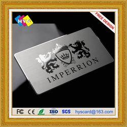 Cartão de Aço Inoxidável feita sob encomenda e fornecimento de cartão de cartão de visita de metal ou metal