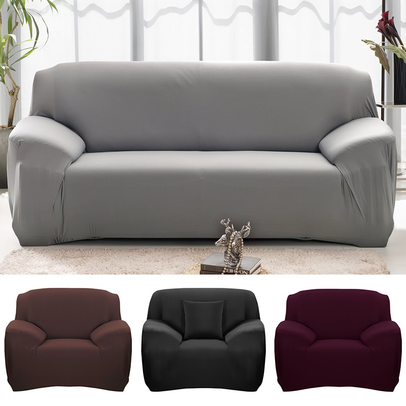 Free 2 Pillow Case Solid Color Sofa Cover Washable