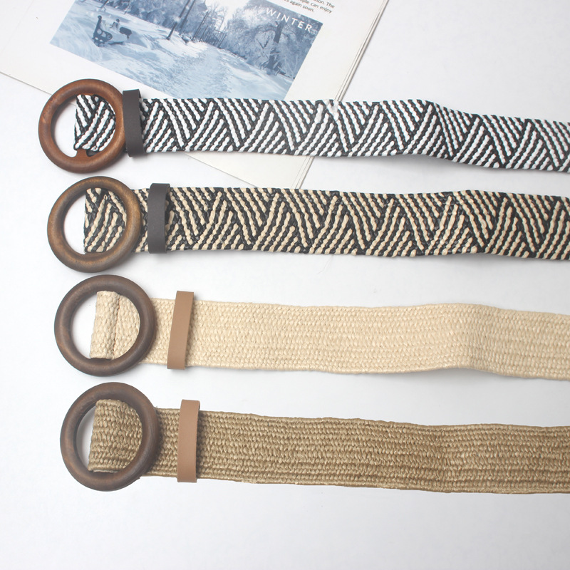 New Vintage Knitted Wax Rope Wooden Bead Waist Rope Women Smooth Buckle Belt Woman Woven Female Hand Beaded Braided Belt BZ33 in Men 39 s Belts from Apparel Accessories