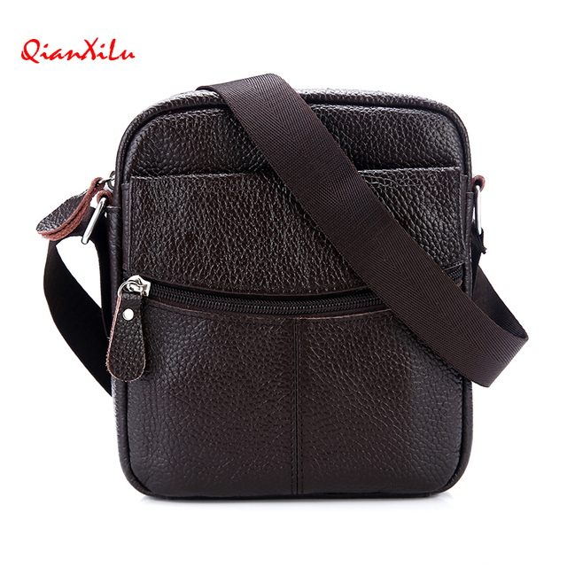 3a148e347f Qianxilu High quality Brand Genuine Leather bag Vintage Designer Men  Crossbody bags Cowhide leather small messenger bag for man