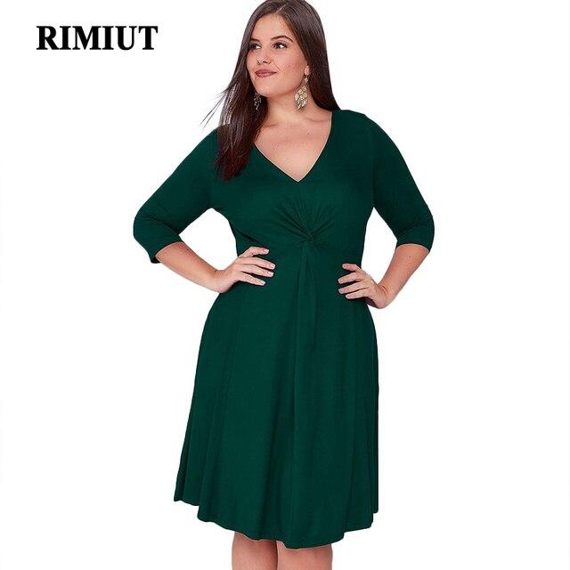 RIMIUT 2018 Fashion Spring Women Milk Silk Soft V-neck Sexy Women Dress  Casual Half Sleeve Female Knee Dress Fat MM Dresses 6XL 7c6f8a9a8a6f