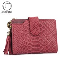 Jamarna JM Genuine Leather Alligator Short Women Wallet Tassels Female Purse Credit Card ID Holder Zipper