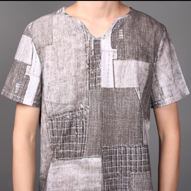 2018 nuevo estilo de pelo de estilista T shirt traje de verano de material de cáñamo de manga corta 9 minutos pantalones traje de marea L 4XL - 3