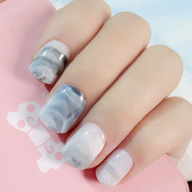 Light Grey Acrylic Fake Nails Marble False Nails DIY Nail Art Press ...
