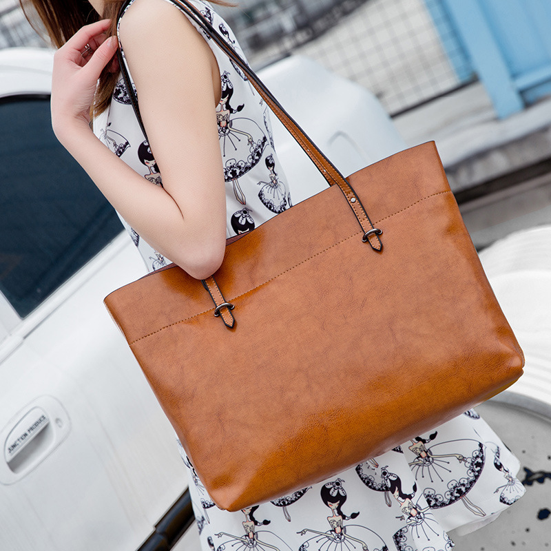 2019 New Leather Handbags Fashion Oil Wax Big Bag Shoulder