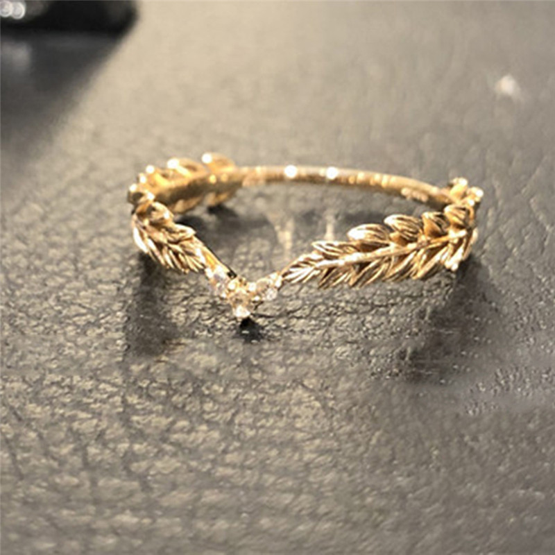 ROMAD Wheat Rings Golden Finger Ring for Women Peace Symbol Party Rings Female Plant Jewelry bijoux femme R4