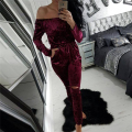 Preself Jumpsuit Velvet Off Shoulder Slash Neck Hole Leg Women Jumpsuits Long Sleeve Bodysuit Plus Size Overalls Bodycon Rompers