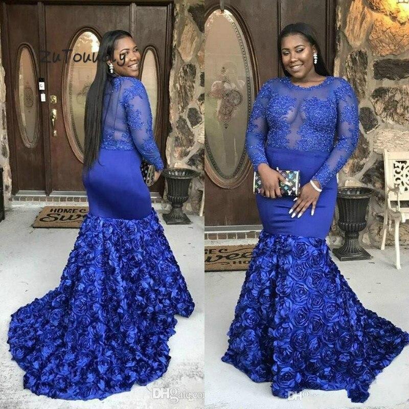 Nigéria robes de soirée sirène africaine dubaï bleu Royal grande taille robe de soirée 3D Rose Floral à manches longues Occasion spéciale robe