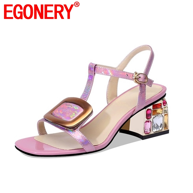EGONERY 2019 summer new concise Comfortable woman sandals outside high square heel buckle open toe 6