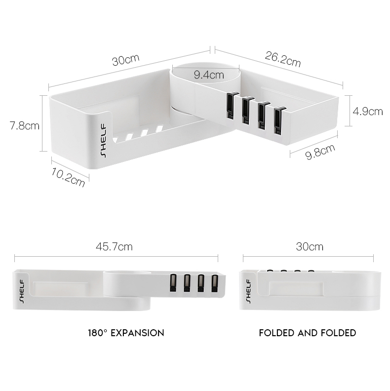 Rotatable Wall Mounted Bathroom Organizer With 4 Hook For Storage Shower Gel And Shampoo 25