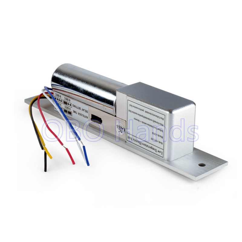 Free shipping low temperature 5 wires electronic bolt lock with time delay function for door access