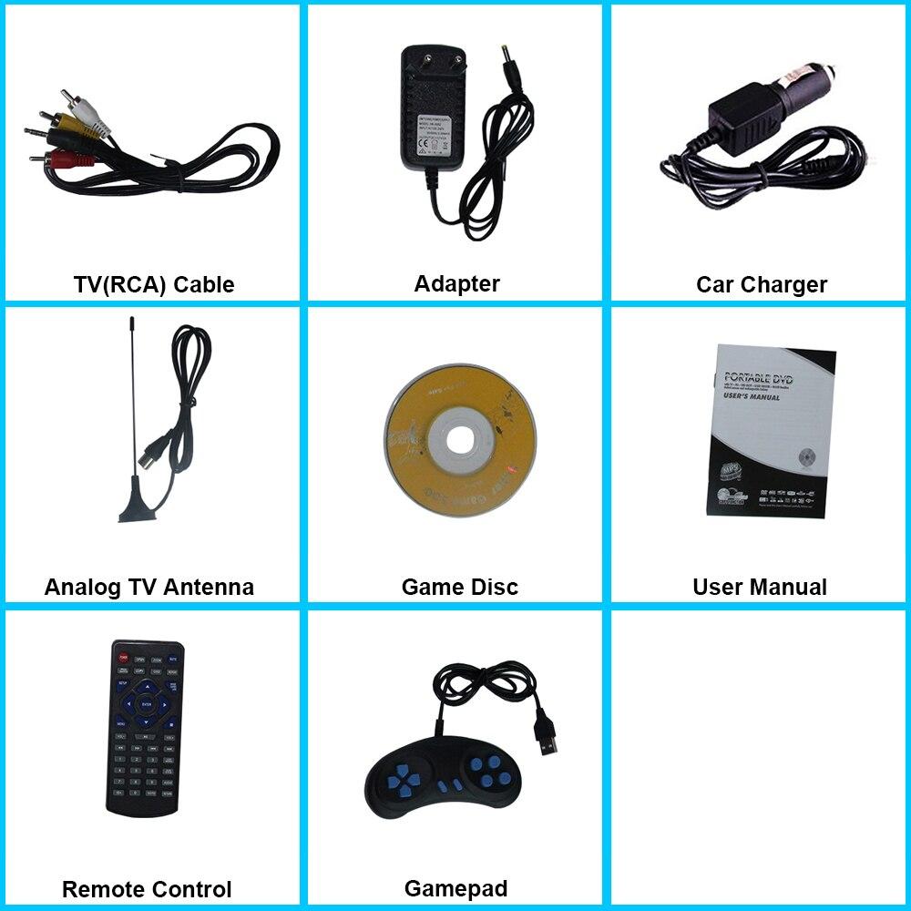 Lecteur DVD Portable LONPOO 10.1 pouces lecteur DVD pivotant DIVX USB Portable TV Portable lecteur DVD TV chargeur de voiture RCA avec batterie - 6