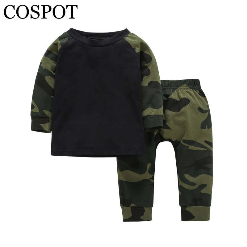 COSPOT 2018 New Baby Boys Clothing Set 2PCS T-Shirt+Pants Spring Cotton Camouflage Children Sets Suits Kids Baby Boy Clothes 35C