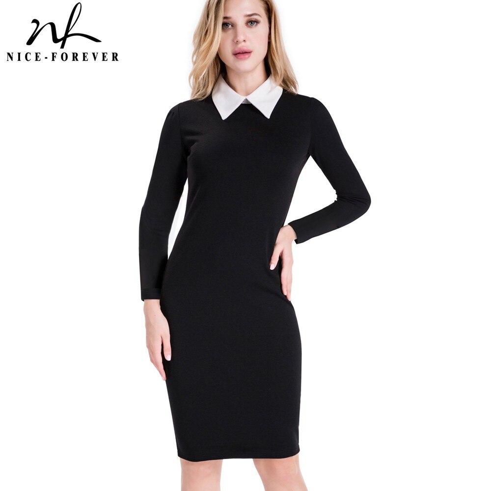 Manufacturer of elegant dresses evening dresses occasional wholesale - Nice Forever Career Women Autumn Turn Down Collar Fit Work Dress Vintage Elegant Business