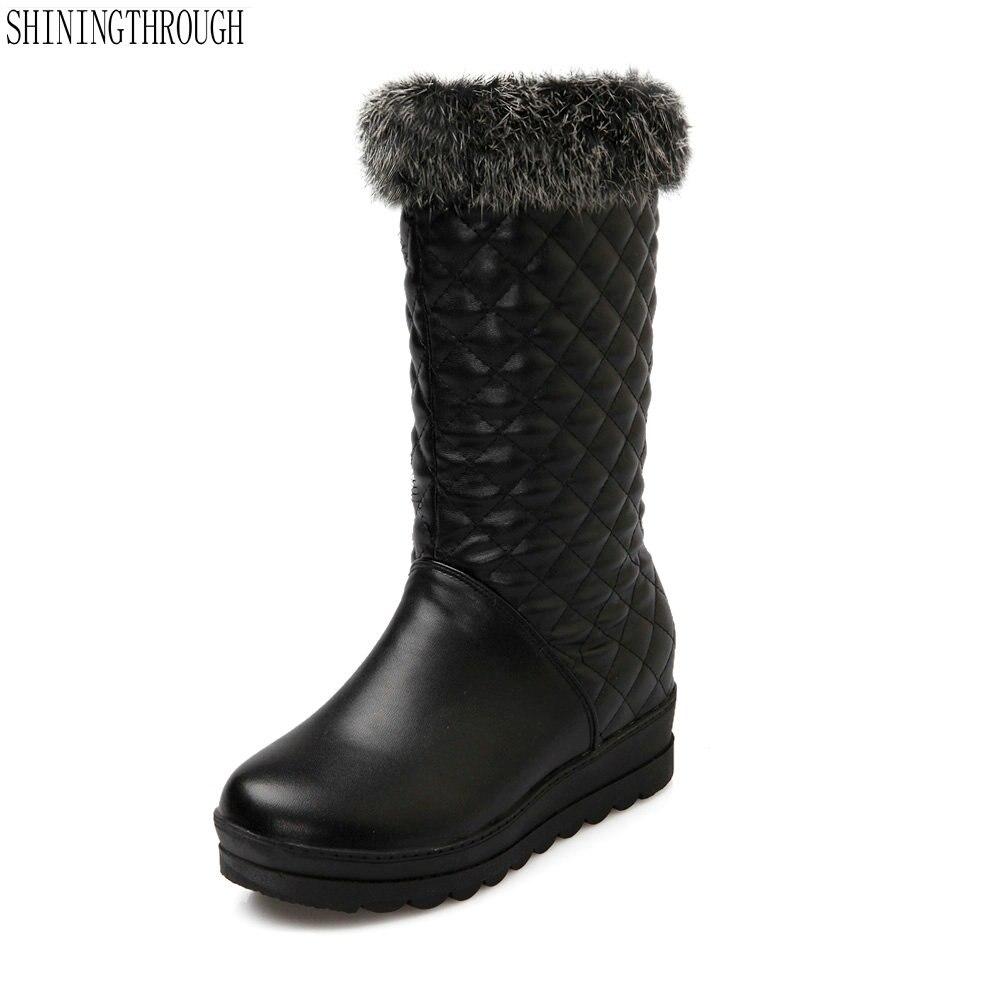 2018 New fashion fur women boots mid-calf boots flat platform boots woman winter snow boots dress shoes woman large size 34-43