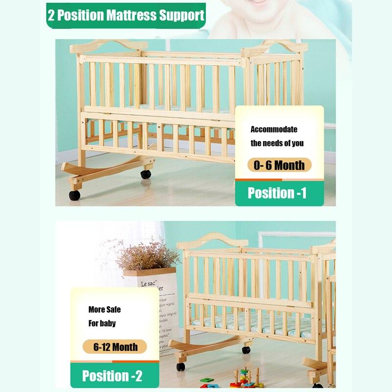 105 cm/120 cm lit bébé extra grande taille, peut charger adulte, pas de peinture berceau bébé nouveau-né berceau, lit à bascule avec moustiquaire - 4