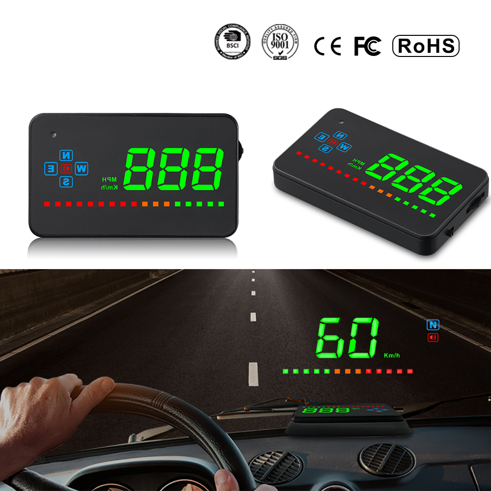 XYCING A2 HUD 3.5 inch GPS Car Head Up Display Speed Alarm Compass Windshield Projector Speedometer HUD via GPS Satellites цена