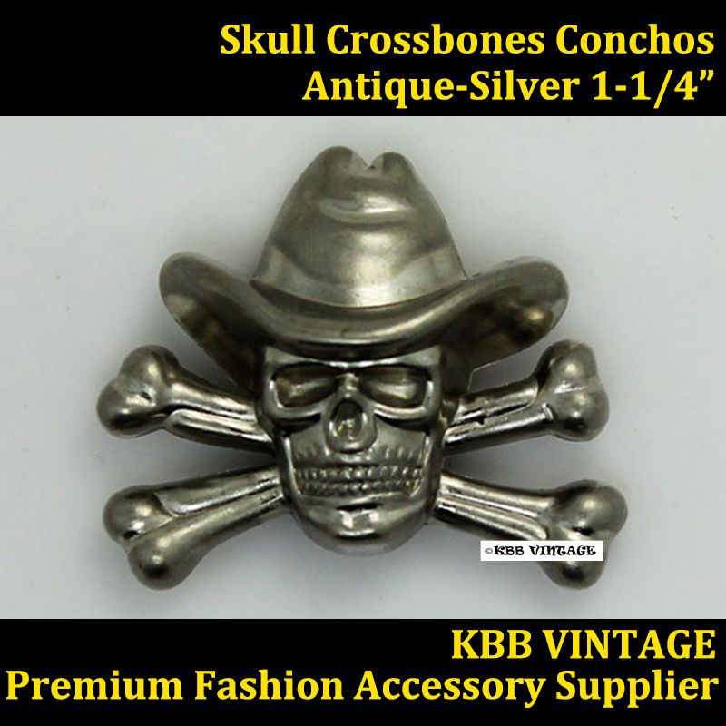 KB701) 50pc 1 1/4\'\' Metal Cowboy Decor Skull Concho Leathercraft ...
