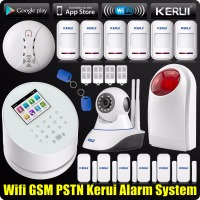 DHL/EMS Freeshipping KERUI Wireless APP WIFI Alarm System GSM PSTN Home 433MHz RFID+720P IP Camera Wireless Smoke Detector