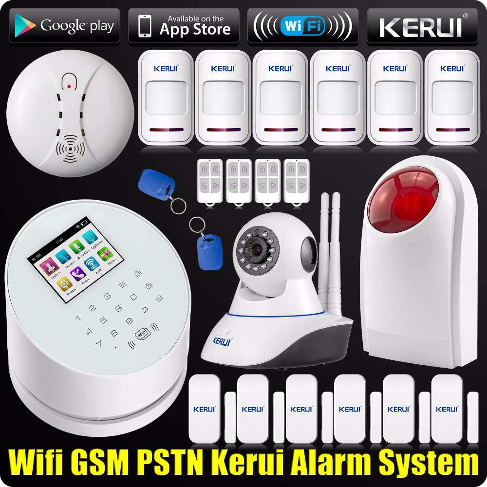 DHL/EMS Freeshipping KERUI Wireless APP WIFI Alarm System GSM PSTN Home 433MHz RFID+720P IP Camera Wireless Smoke Detector freeshipping rs232 to zigbee wireless module 1 6km cc2530 chip