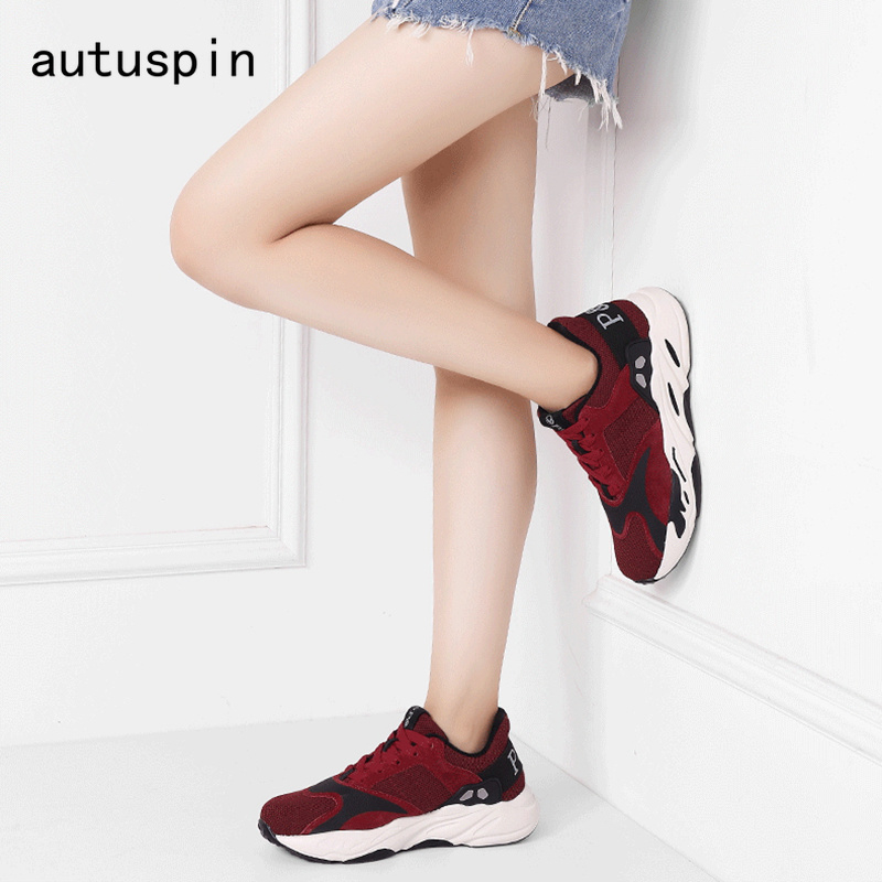 Mode Autuspin Air Plate Casual Chaussures gris Formateurs Rouge Noir forme rouge Vulcaniser Femme Respirant Femmes Mesh De Tissu 1FqUSF