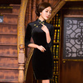 TIC-TEC chinese cheongsam short qipao women velvet black tradicional slim vintage elegant party oriental dresses clothes P2989