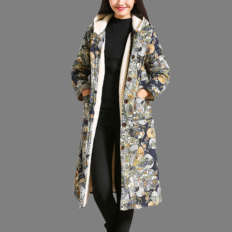 2017 Autumn Winter Thick Cotton Warm Jacket long Cotton Padded Slim Jacket Single Breasted Floral Print Hooded Coat 6 2015 cotton padded elderly warm thickening long cotton padded jacket mens new single breasted wholesale zipper loose coat d10