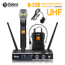 лучшая цена Good sound!!!Debra Audio D-220 2Channel with Handheld or Lavalier & Headset Mic UHF Wireless Microphone System for karaoke