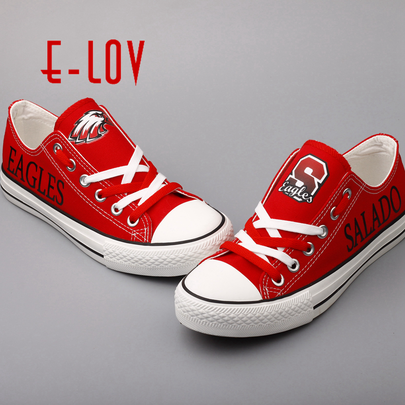 E-LOV 2017 New College Print Shoes Salado Eagles Custom Canvas Shoes Red Lace Graffiti Walking Shoes Group Order Big Size e lov women casual walking shoes graffiti aries horoscope canvas shoe low top flat oxford shoes for couples lovers