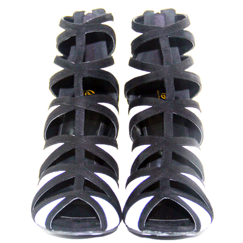 Sandales 10 Sexy Blanc Femme Élégant Et Noir Mode Chaussures Taille 4 Plus Mince Femmes Bout Ef0352 Nous Ouvert Initiale De Talon L'intention 5 qgptFF