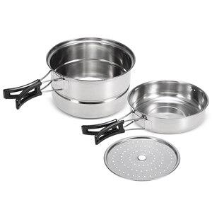 Image 2 - 3 pièces Camping batterie de cuisine en acier inoxydable Pot poêle à frire support de cuisson à la vapeur en plein air maison cuisine ensemble de cuisine