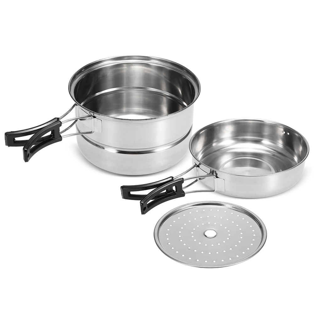 Image 2 - 3Pcs Camping Cookware Set Stainless Steel Pot Frying Pan Steaming Rack Outdoor Home Kitchen Cooking Set-in Outdoor Tablewares from Sports & Entertainment