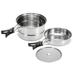 Image 2 - 3Pcs Camping Cookware Set Stainless Steel Pot Frying Pan Steaming Rack Outdoor Home Kitchen Cooking Set