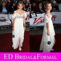 Emma Watson Dress White Asymmetrical Hem Beaded  Prom Evening National Movie Awards Red Carpet