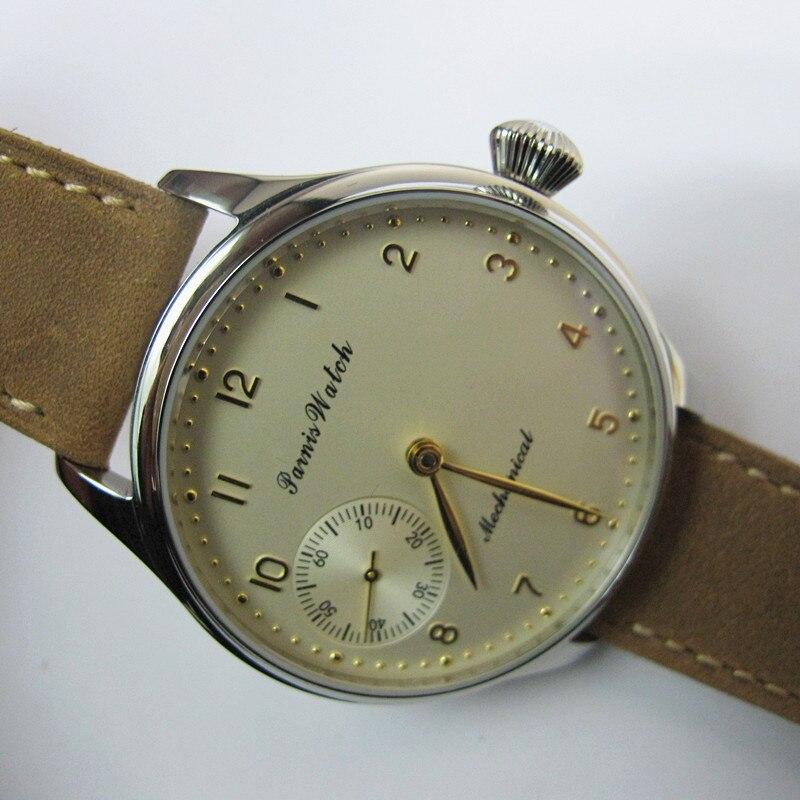 New 44mm Parnis Hand Winding Mechanical Men s Watch Light Yellow Dial Wristwatch