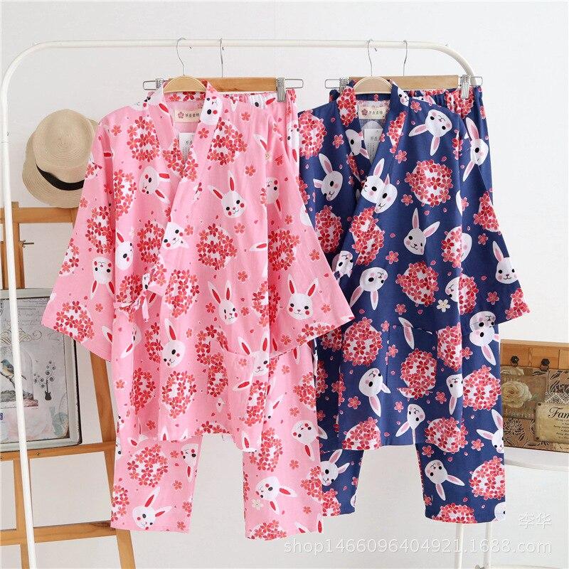 Couple Japanese Kimono Cherry Cute Rabbit Pajamas Set Kimono Suit Thin 100% Cotton Gauze Gown Top Pants Women and Men Sleepwear