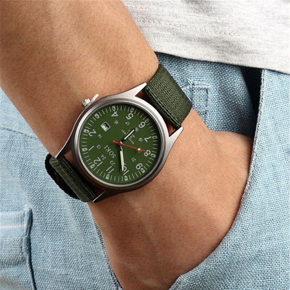 SOKI Men Watches Stainless Steel Waterproof Watches For Men Luxury Fashion Mens Quartz Analog Watches Canvas Mens Watches #YY