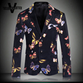 Vintage Stage Clothes For Singer Printed Butterfly Colorful Blazer Homme Party Wear Skinny Luxury Men Blazer Jacket M-4XL