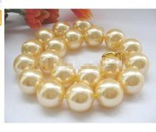 women wedding jewelry genuine gift 17INCH AAA+ NATURAL Round south sea 13-14mm white pearls Necklace