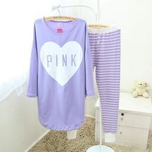 New Girl s Cute Pajamas Pijamas Set Purple Long Shirt Pants Home Clothes Casual Sleepwear Silky